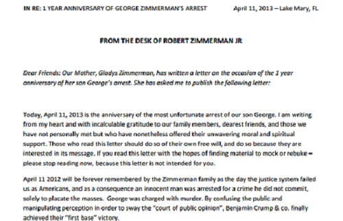 george zimmerman mother's letter