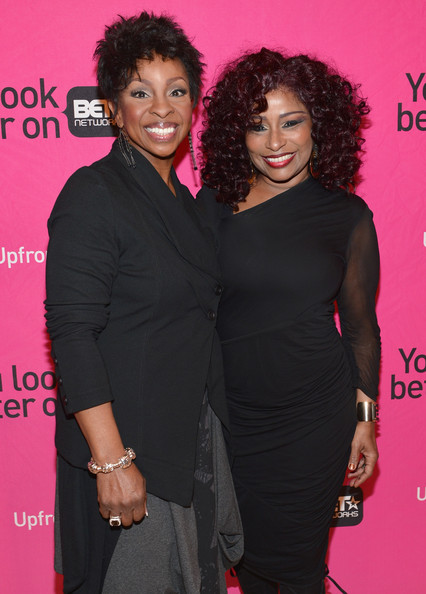 Recording artists Gladys Knight and Chaka Khan attend the BET Networks' 2013 Los Angeles Upfront at Montage Beverly Hills on April 2, 2013 in Beverly Hills