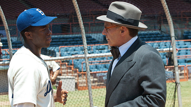 Chadwick Boseman and Harrison Ford in '42' (Photo: Warner Bros. Pictures)
