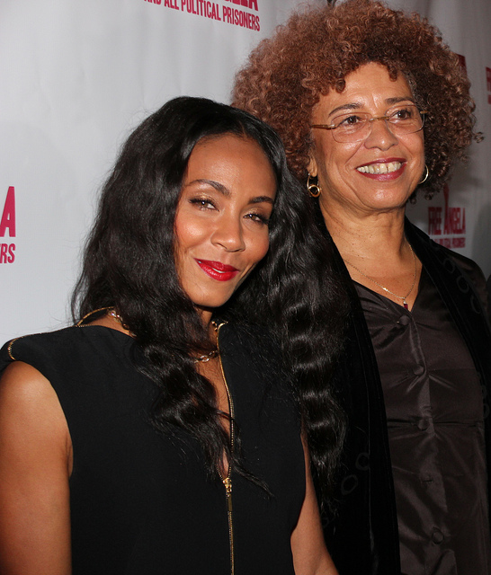 "Jada Pinkett Smith (L) and Angela Davis attend the premiere of ""Free Angela and All Political Prisoners"" at the Pan African Film Festival  in Los Angeles (Feb. 12, 2013)"