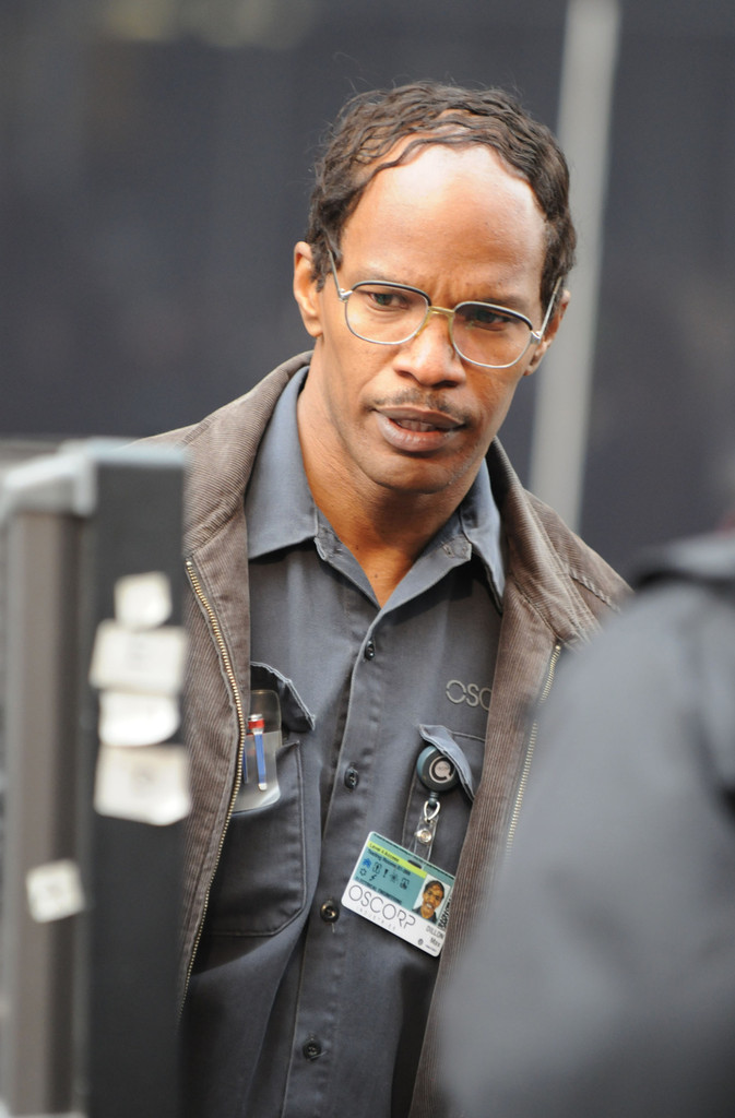 Actor Jaime Foxx films scenes on the set of his upcoming film 'The Amazing Spider-Man 2' in New York City