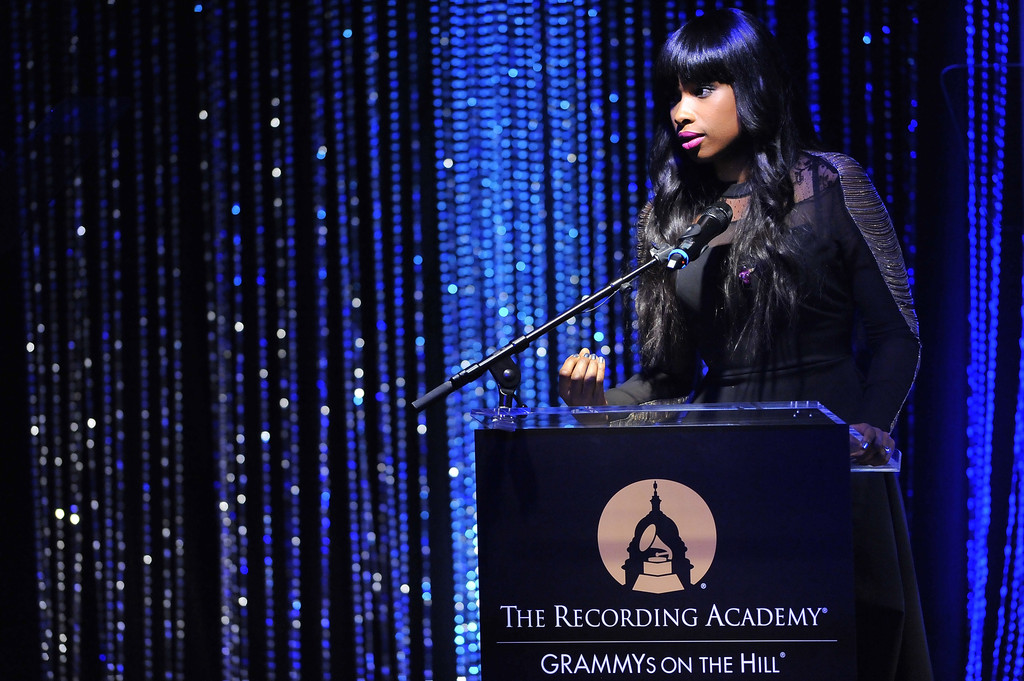 Singer Jennifer Hudson sings at the 2013 Grammys on the Hill Awards at The Hamilton on April 17, 2013 in Washington, DC