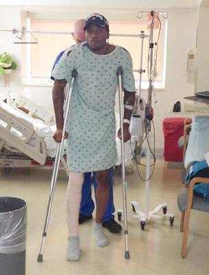 kevin ware in hospital on crutches