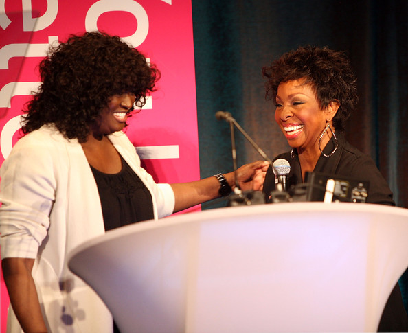 President of original programming BET Networks Loretha Jones (L) and Gladys Knight onstage during BET Networks 2013 Los Angeles Upfront at Montage Beverly Hills on April 2, 2013 in Beverly Hills