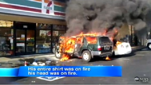man set on fire at 7-11