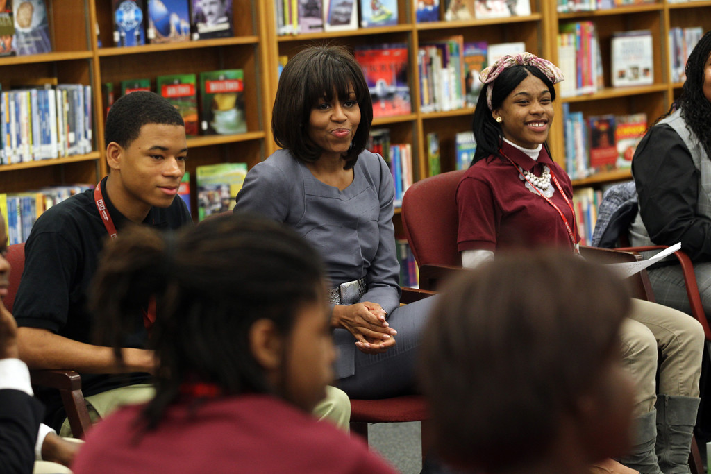 First lady Michelle Obama visits Harper High School in the Englewood neighborhood to talk with students about the plague of violence in their area April 10, 2013 in Chicago