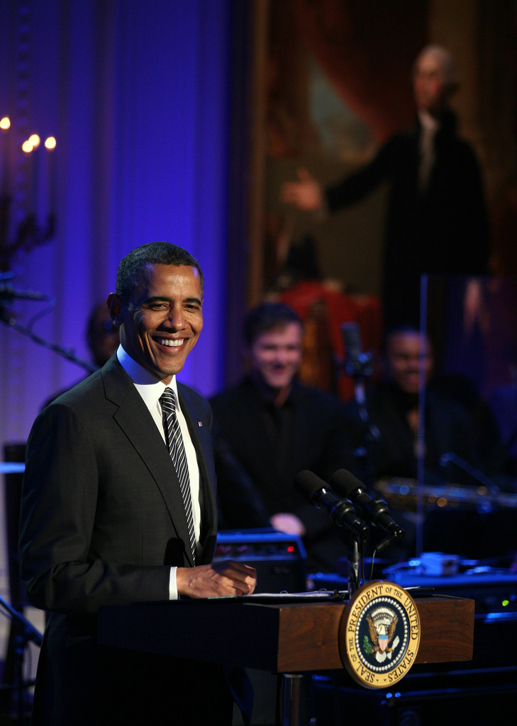 "President Barack Obama hosts a concert of Memphis Soul music as part of the ""In Performance at the White House"" series in the East Room of the White House April 9, 2013 in Washington, DC"