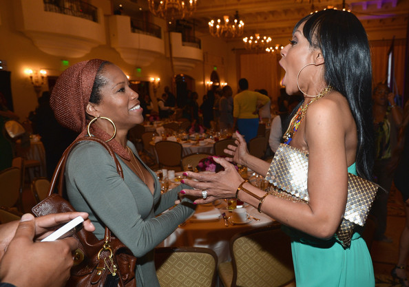 Actors Regina King and Wendy Raquel Robinson attend the BET Networks' 2013 Los Angeles Upfront at Montage Beverly Hills on April 2, 2013 in Beverly Hills