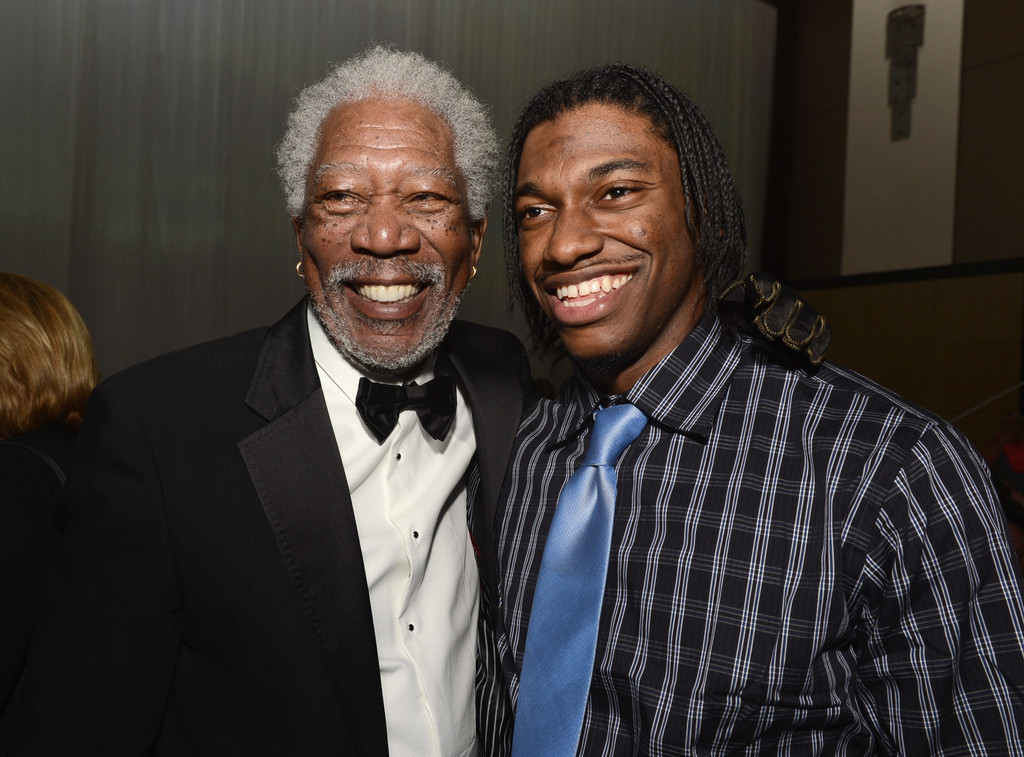 "Actor Morgan Freeman and NFL player Robert Griffin III attend the after party for the premiere of Universal Pictures' ""Oblivion"" at Dolby Theatre on April 10, 2013 in Hollywood, California"