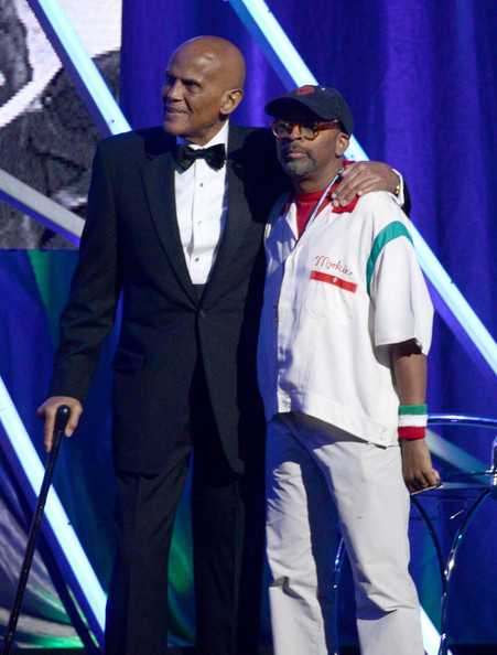 Public Enemy presenters Harry Belafonte (L) and Spike Lee