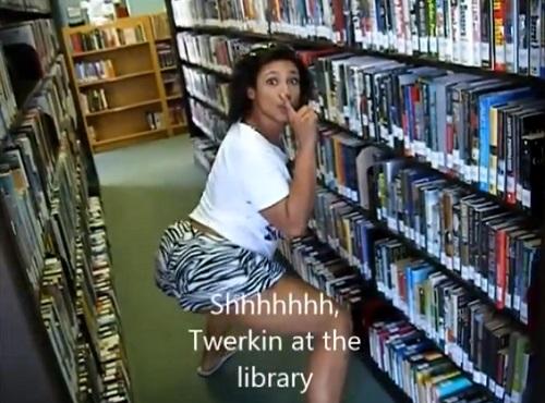 twerker gone wild in library