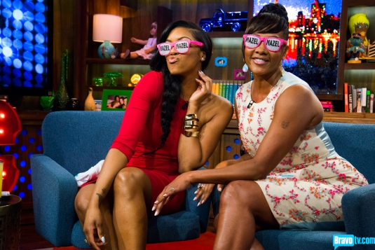 "Porsha Stewart (L) and Vivica A. Fox on Bravo's ""Watch What Happens Live"" (April 21, 2013)"