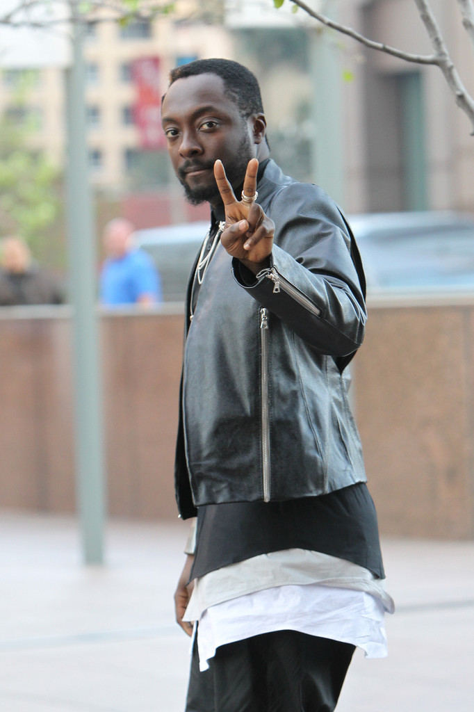 Will.i.Am filming a music video in downtown in Los Angeles. (March 24, 2013)