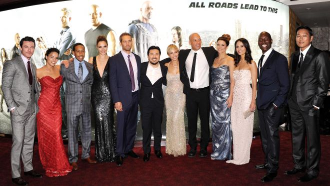 """Actors Luke Evans, Michelle Rodriquez, Chris Ludacris Bridges, Gal Gadot, Paul Walker, director Justin Lin and actors Elsa Pataky, Vin Diesel, Gina Carano, Jordana Brewster, Tyrese Gibson and Ssung Kang attend the """"Fast & Furious 6"""" World Premiere at The Empire, Leicester Square on May 7, 2013 in London, England"""