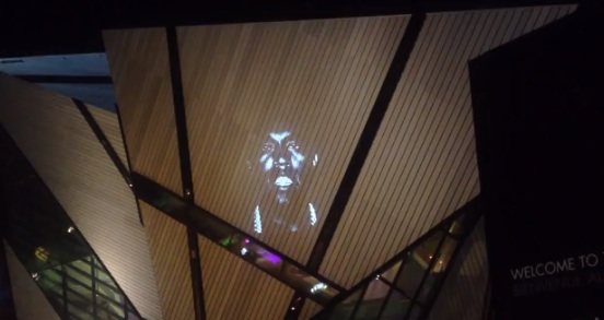 """Kanye West's video for """"New Slaves"""" is projected onto the Royal Ontario Museum in Toronto, May 24, 2013"""