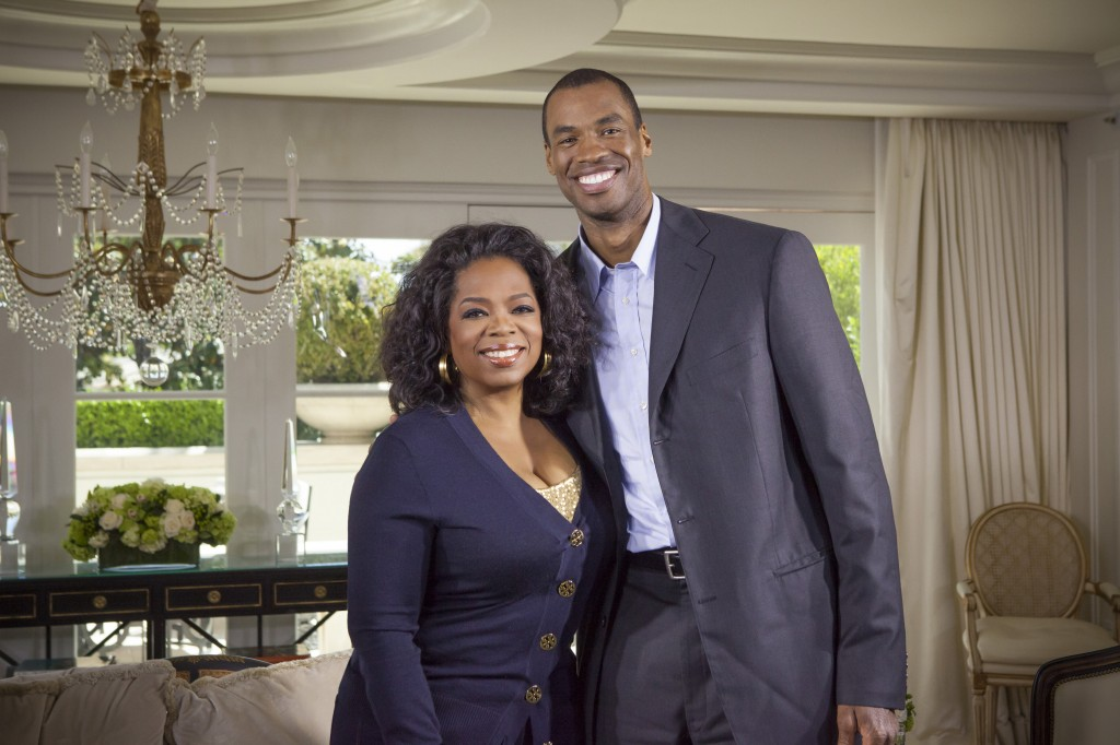 Oprah Winfrey with Jason Collins in Los Angeles, CA