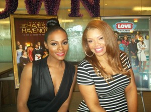 """(L to R) Tika Sumpter of the drama series  """"The Haves and the Have Nots"""" and Kendra C. Johnson of comedy series """"Love Thy Neighbor"""" to air on OWN. (Photo Credit: Eunice Moseley)"""
