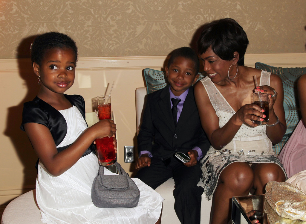 "Actress Angela Bassett with her daughter Bronwyn Golden and son Slater Josiah attend The Coalition For At-Risk Youth (CARRY) ""Shall We Dance"" Gala at The Beverly Hilton Hotel on May 11, 2013 in Beverly Hills"