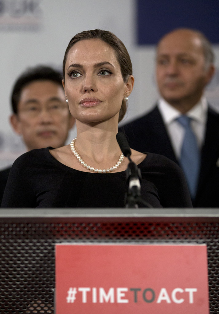 Actress Angelina Jolie, in her role as UN envoy, talks during a news conference regarding sexual violence against women in conflict, at the Foreign Ministers G8 meeting in Lancaster House on April 11, 2013 in London, England