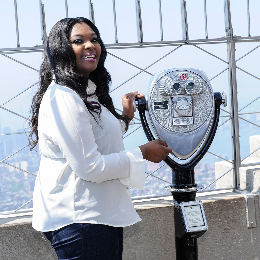 Candice Glover, winner of American Idol's season 12, visits the Empire State Building on May 21, 2013 in New York City