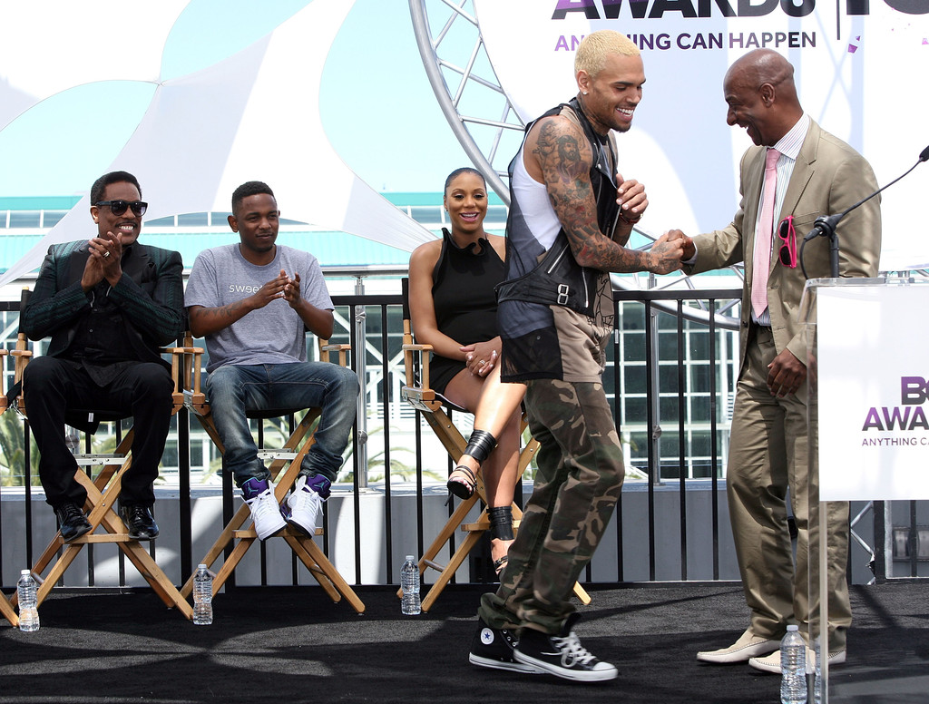 Chris Brown and Stephen Hill attend the BET Awards 2013 Press Conference at Icon Ultra Lounge on May 14, 2013 in Los Angeles