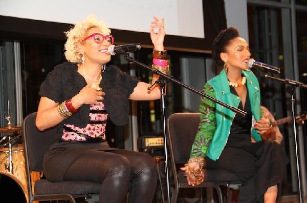 Les Nubians singers/sisters Hélène and Célia Faussar