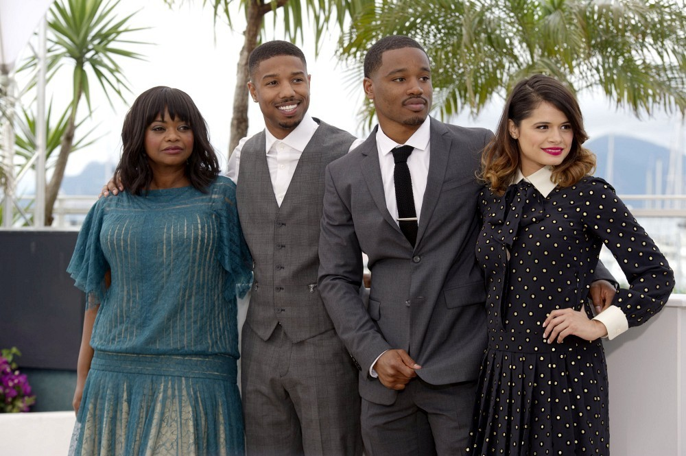 (L-R) Actress Octavia Spencer, actor Michael B. Jordan, Director Ryan Coogler and actress Melonie Diaz attend the 'Fruitvale Station' Photocall during the 66th Annual Cannes Film Festival at the Palais des Festivals on May 16, 2013 in Cannes