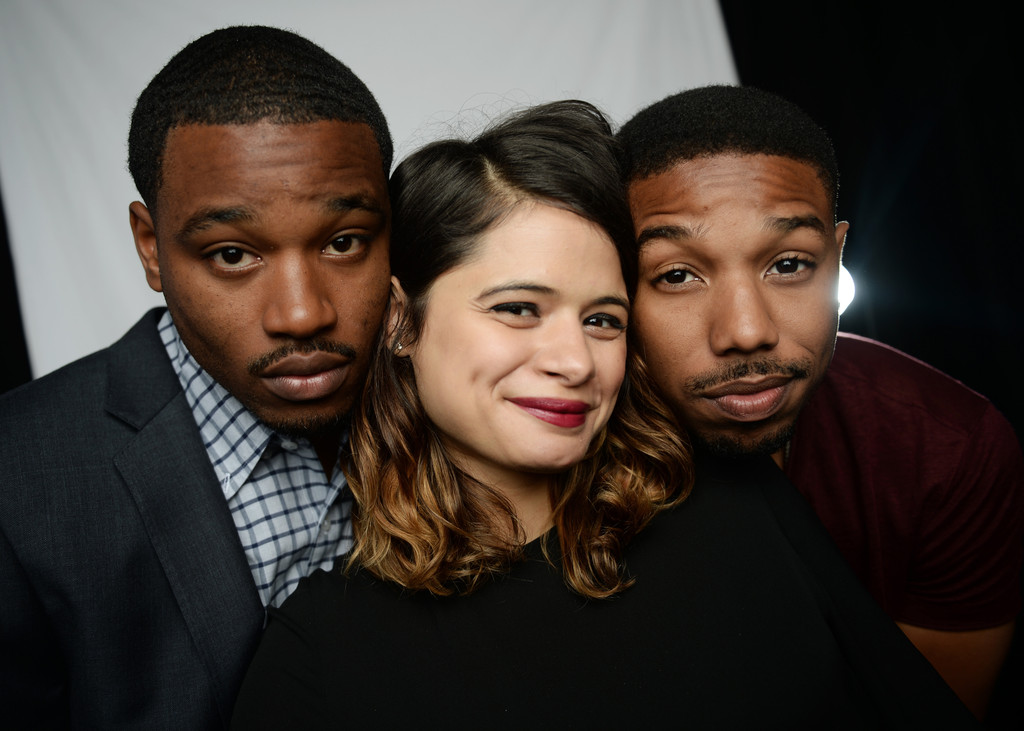 (L-R) Director Ryan Coogler and actors Melonie Diaz and Michael B. Jordan attend the Variety Studio at Chivas House on May 18, 2013 in Cannes