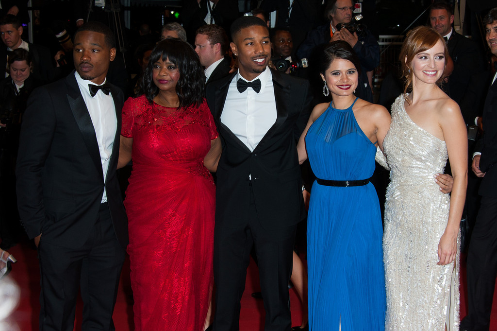 Director Ryan Coogler, Michael B. Jordan, Octavia Spencer and Melonie Diaz arrive for the screening of 'Heli' at the 66th Cannes International Film Festival at the Palais des Festivals in Cannes. (May 16, 2013)