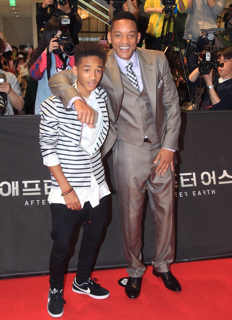 Actors Will Smith and Jaden Smith attend the 'After Earth' South Korea Premiere Time Square on May 7, 2013 in Seoul, South Korea