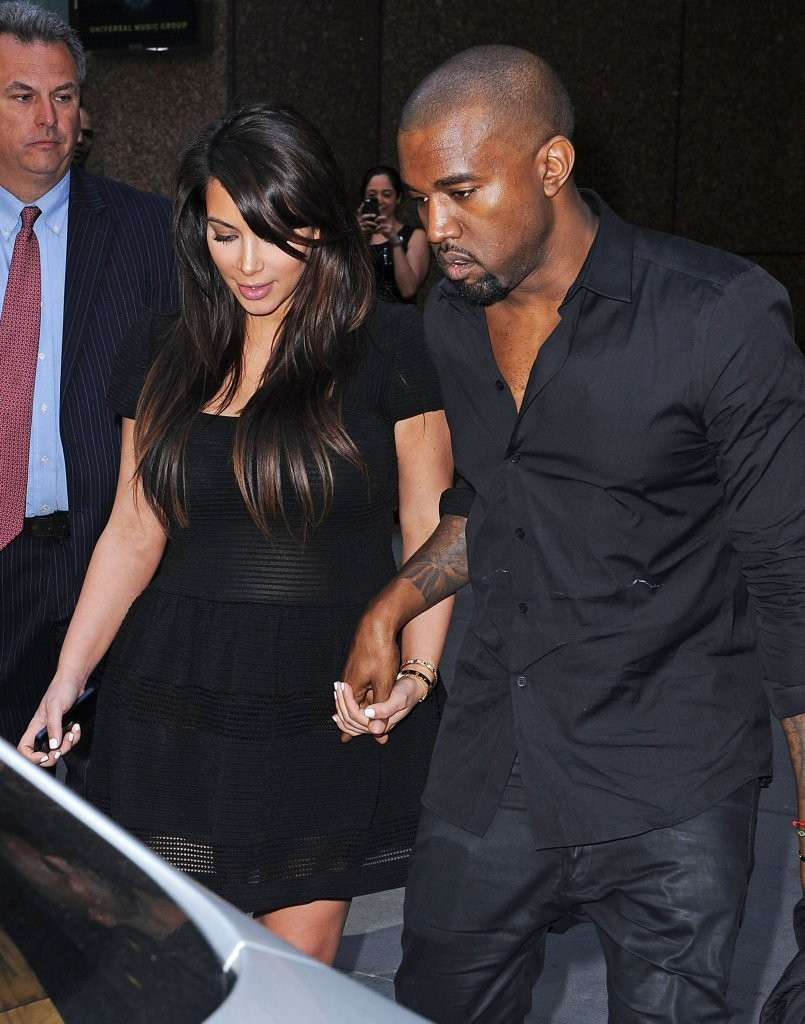 Pregnant reality star Kim Kardashian and her rapper boyfriend Kanye West out and about in New York City, New York on April 24, 2013