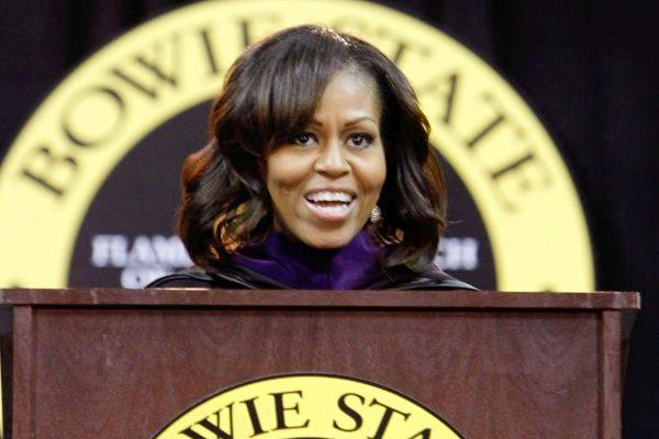 michelle obama (no bangs at bowie stater)