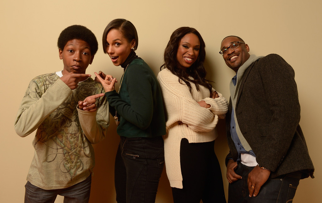 (L-R) Actor Skylan Brooks, producer and musician Alicia Keys, actress Jennifer Hudson and director George Tillman Jr. pose for a portrait during the 2013 Sundance Film Festival at the Getty Images Portrait Studio at Village at the Lift on January 18, 2013 in Park City, Utah