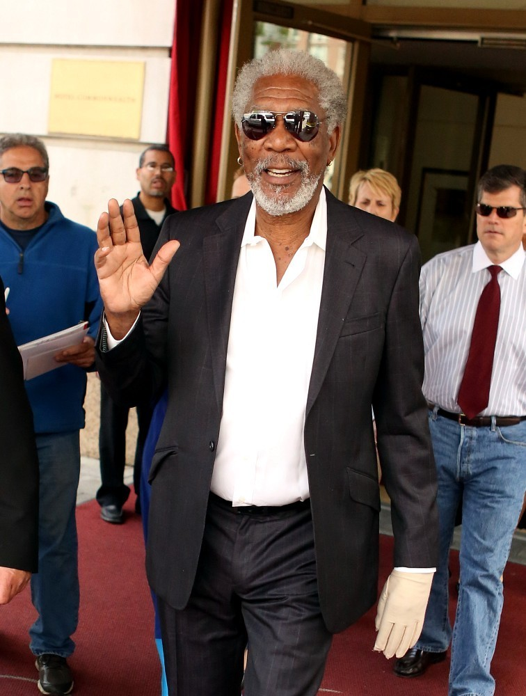 Morgan Freeman leaves his hotel to attend the 2013 Boston University graduation where he was presented with a Doctor of Humane Letters at the University's graduation.  (May 18, 2013)