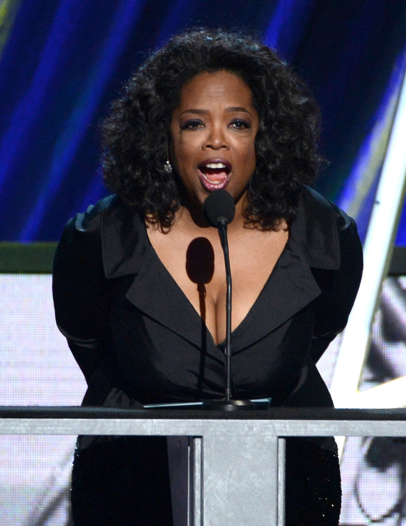 Oprah Winfrey speaks on stage at the 28th Annual Rock and Roll Hall of Fame Induction Ceremony at Nokia Theatre L.A. Live on April 18, 2013 in Los Angeles