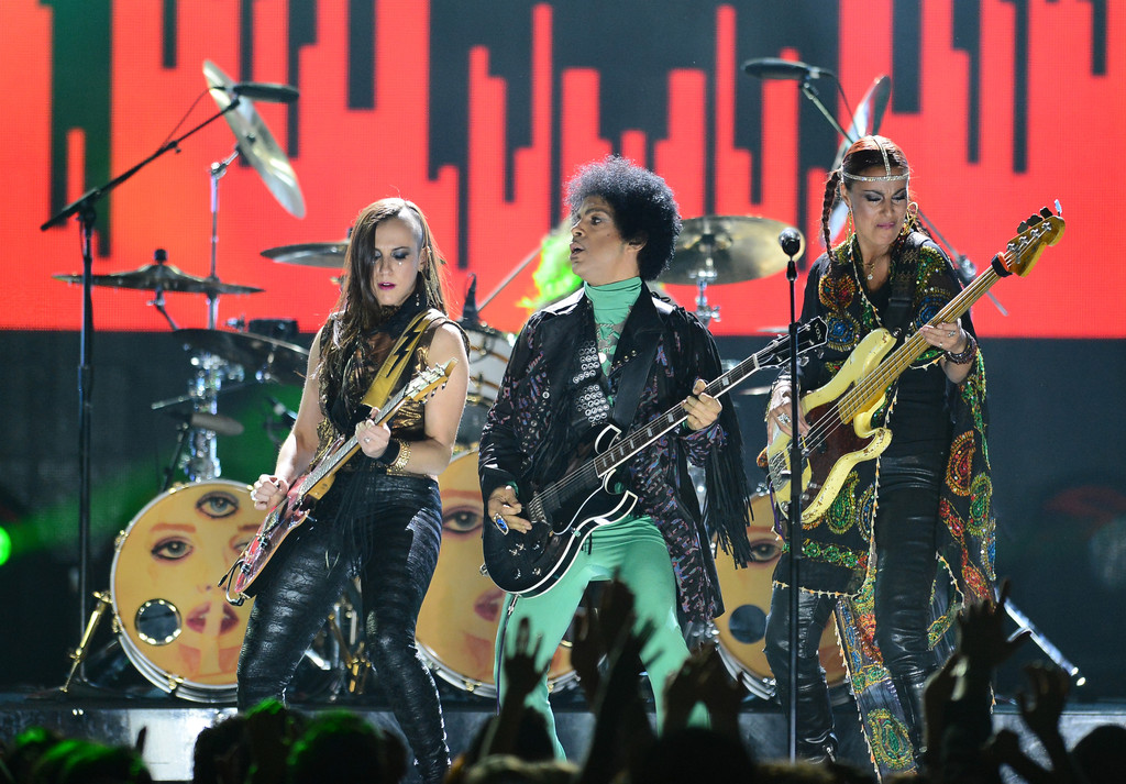 Donna Grantis, Prince and Ida Nielson perform onstage during the 2013 Billboard Music Awards at the MGM Grand Garden Arena on May 19, 2013 in Las Vegas, Nevada