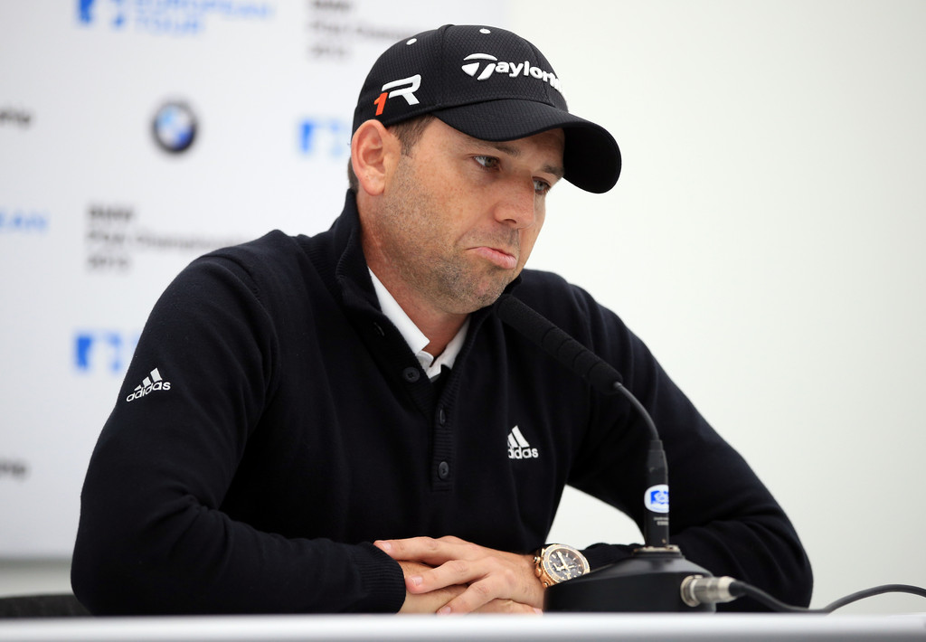 Sergio Garcia of Spain talks to the media in a press conference during a practise day for the BMW PGA Championships at Wentworth on May 21, 2013 in Virginia Water, England