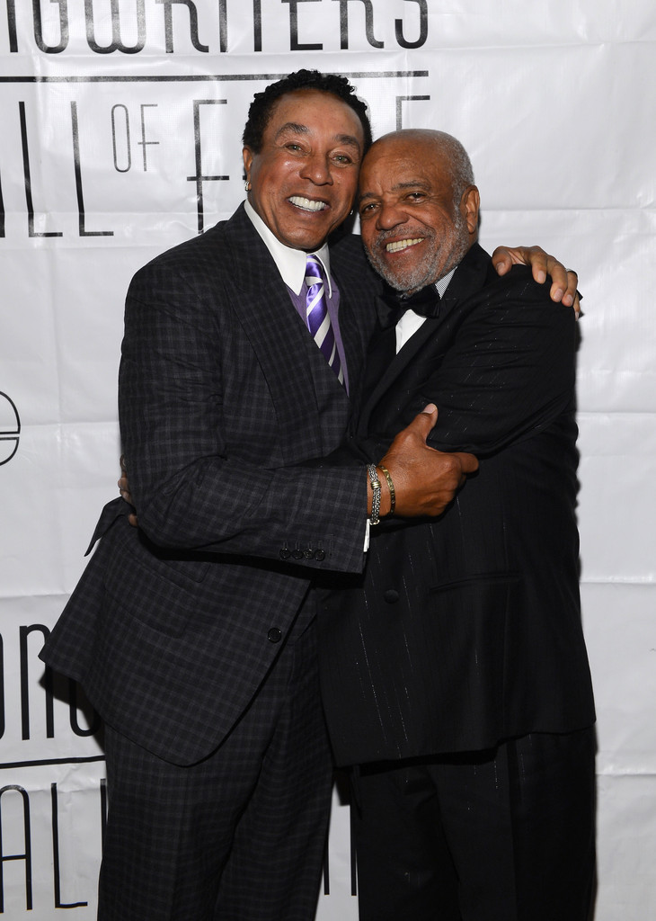 Smokey Robinson and Berry Gordy attend the Songwriters Hall of Fame 44th Annual Induction and Awards Dinner at the New York Marriott Marquis on June 13, 2013 in New York City