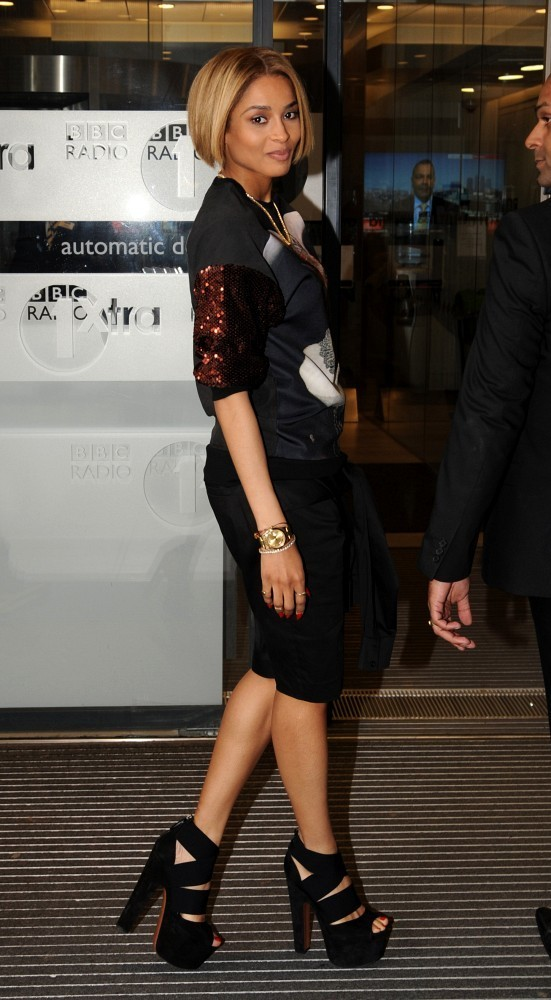 Ciara arrives at the BBC Radio 1 Studios on June 13, 2013