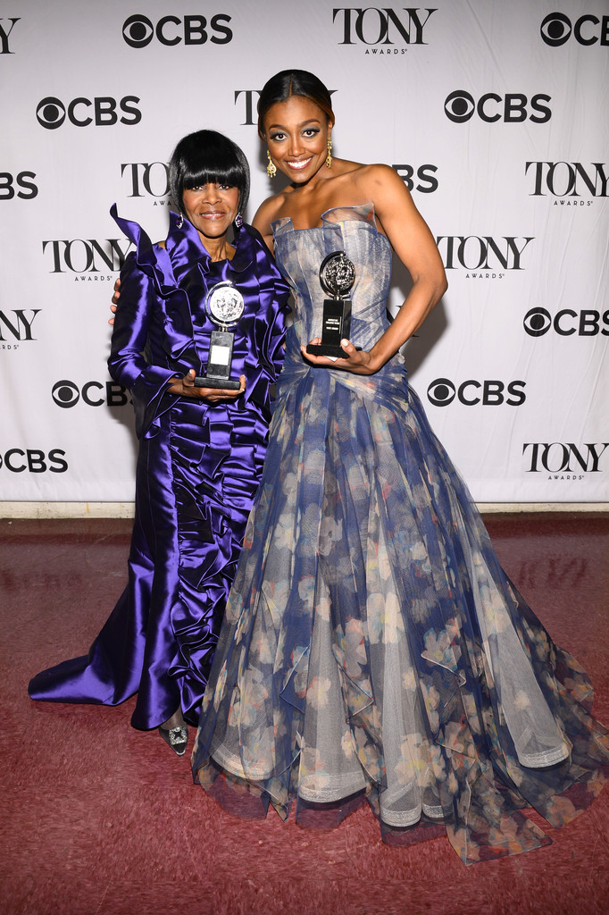 Cicely Tyson, winner of the award for Best Performance by a Leading Actress in a Play for 'The Trip to Bountiful', (L) and Patina Miller, winner of the award for Best Performance by a Leading Actress in a Musical for 'Pippin', attend The 67th Annual Tony Awards green room at Radio City Music Hall on June 9, 2013 in New York City