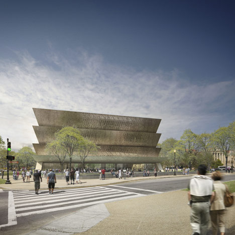 A model of the National Museum of African American History and Culture on the National Mall.