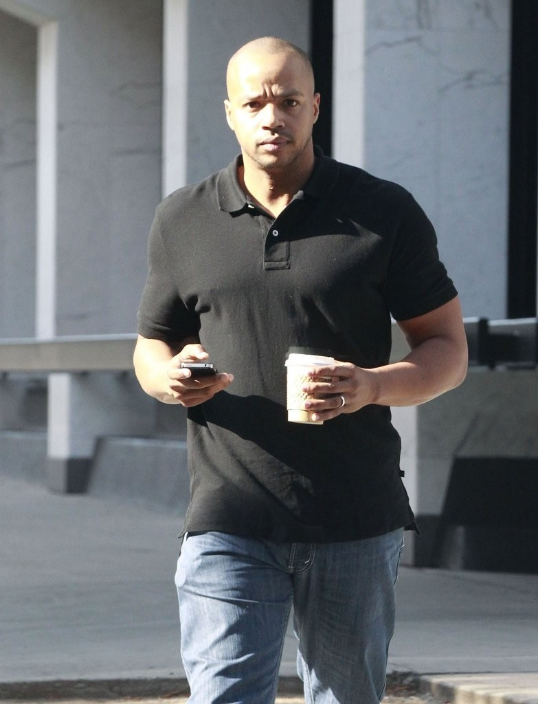 Actor Donald Faison leaving an office building in Beverly Hills, California on May 10, 2013