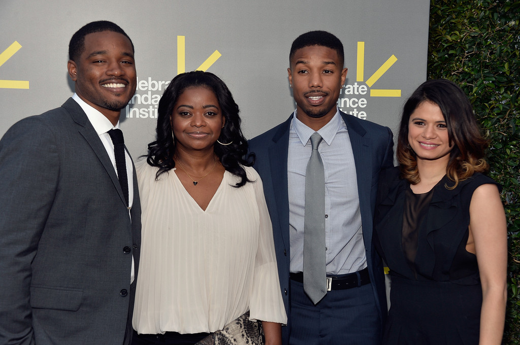 (L-R) Director and Vanguard Award recipient Ryan Coogler, actress Octavia Spencer, actor Michael B. Jordan, and actress Melonie Diaz attend the 2013 'Celebrate Sundance Institute' Los Angeles Benefit hosted by Tiffany & Co. at The Lot on June 5, 2013 in West Hollywood