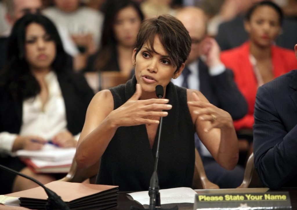 Actress Halle Berry testifies before the Assembly Committee on Public Safety at the Capitol in Sacramento, Calif., for a bill that would limit the ability of paparazzi to photograph children of celebrities and public figures on Tuesday, June 25, 2013.