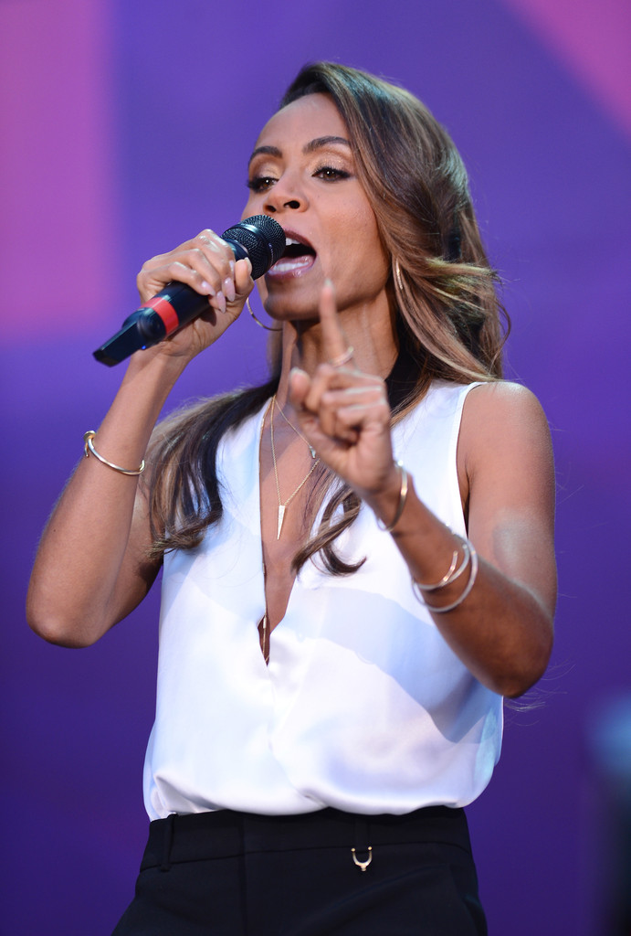 """Jada Pinkett Smith on stage at the """"Chime For Change: The Sound Of Change Live"""" Concert at Twickenham Stadium on June 1, 2013 in London"""