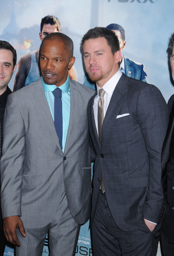 Jamie Foxx and Channing Tatum at the premiere of 'White House Down' at the Ziegfeld Theater in New York City