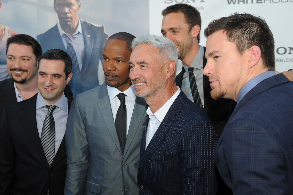 "Jamie Foxx, (L), Roland Emmerich, (C) and Channing Tatum, (R) attend ""White House Down"" Washington DC Premiere at AMC Georgetown on June 21, 2013 in Washington, DC."