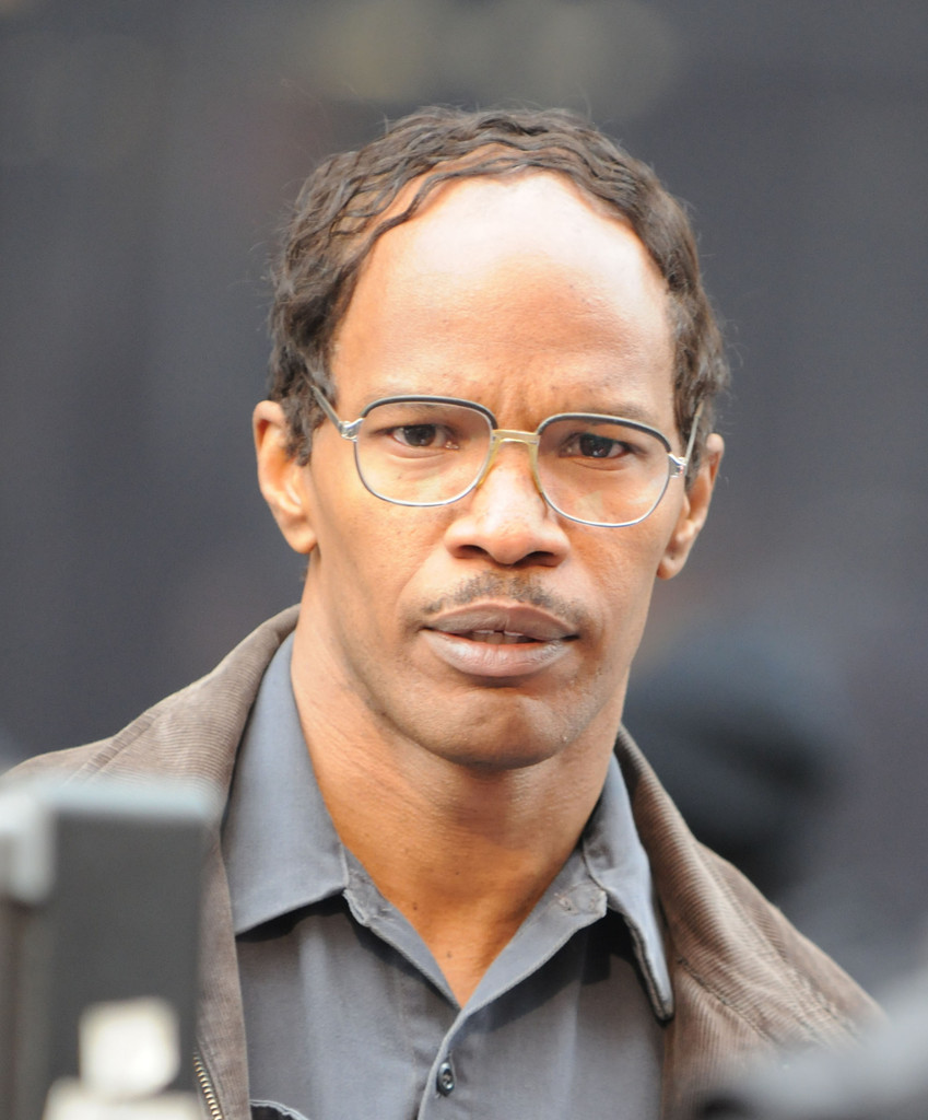 Actor Jaime Foxx films scenes on the set of his upcoming film 'The Amazing Spider-Man 2' in New York City. (April 28, 2013)
