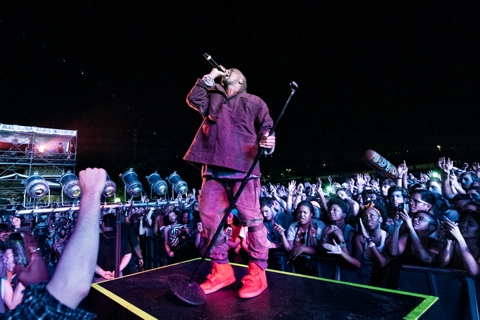 Kanye West performs at the Governors Ball