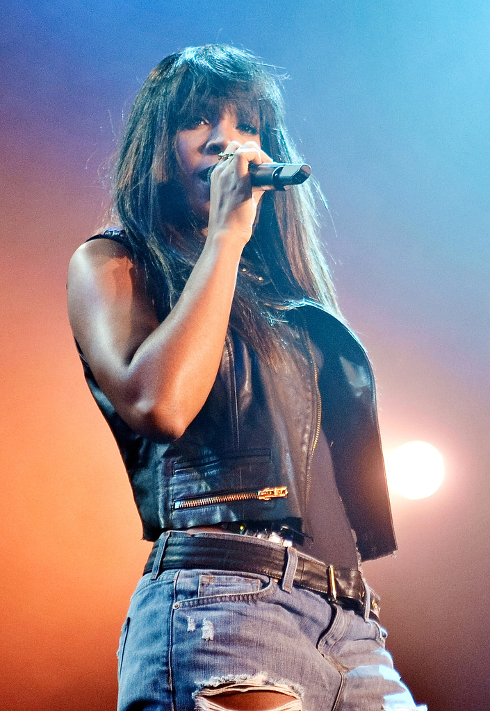 "Kelly Rowland performs during the Kelly Rowland and The Dream ""Lights Out"" tour at the Best Buy Theater on May 30, 2013 in New York City"